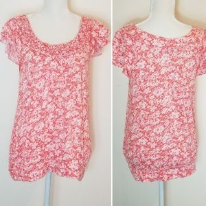 Elle Floral Paisley Accent Neck Short Sleeve Top